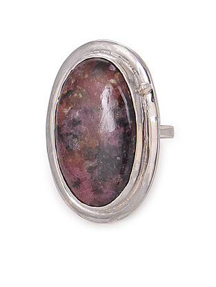 Rhodonite Adjustable Silver Ring