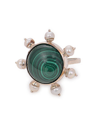 Malachite Adjustable Silver Ring