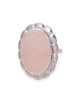 Rose Quartz Adjustable Silver Ring