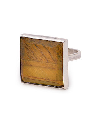 Tigers Eye Adjustable Silver Ring