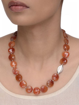 Carnelian Beaded Silver Necklace