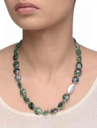 Ruby Zoisite Beaded Silver Necklace