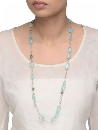 Chalcedony and Ruby Zoisite Beaded Silver Necklace