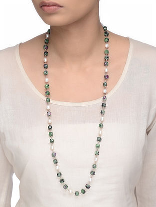 Ruby Zoisite and Pearl Beaded Silver Necklace