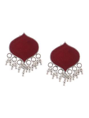 Maroon Enameled Silver Earrings
