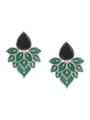 Blue-Black Enameled Silver Earrings