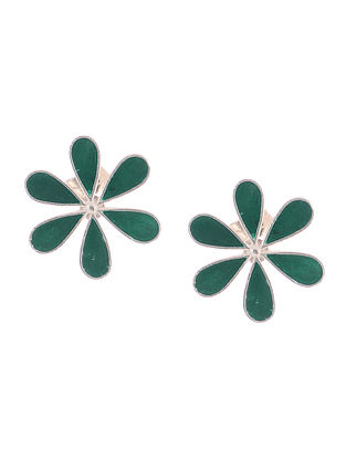 Green Enameled Silver Earrings with Floral Design