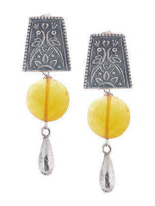 Chalcedony Tribal Silver Earrings