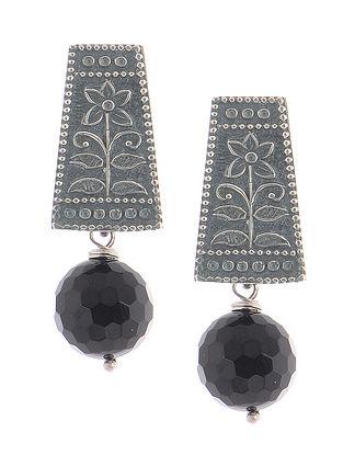 Amethyst Tribal Silver Earrings with Floral Motif