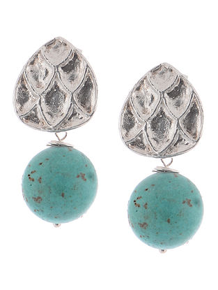 Howlite Tribal Silver Earrings