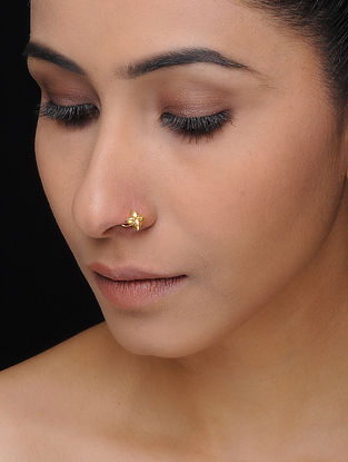 Gold-plated Silver Nose Pin with Floral Design