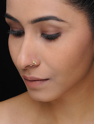 Gold-plated Silver Nose Pin with Pearls