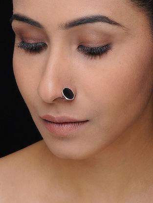 Black Enameled Silver Nose Pin