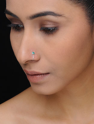 Green Enameled Silver Nose Clip