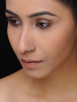 Green Enameled Silver Nose Pin