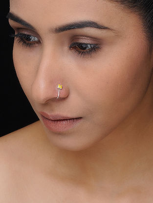 Yellow Enameled Silver Nose Clip