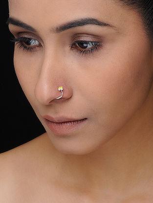 Yellow Enameled Silver Nose Pin