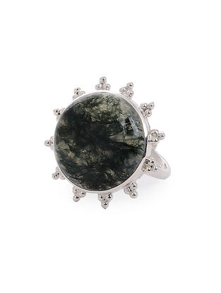Moss Agate Adjustable Silver Ring