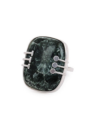 Seraphinite Adjustable Silver Ring