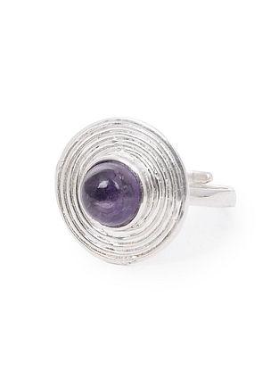 Amethyst Adjustable Silver Ring