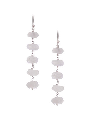 Rainbow Moonstone Silver Earrings