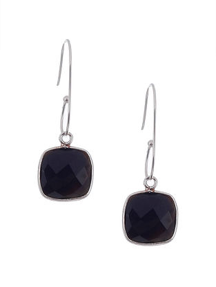 Black Onyx Silver Earrings