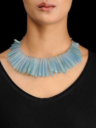 Blue Chalcedony Silver Necklace