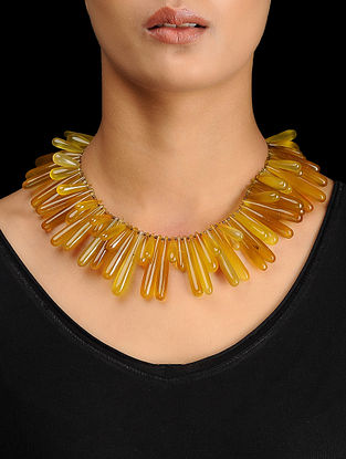 Yellow Chalcedony Silver Necklace