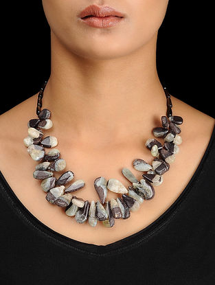 Jasper and Smoky Quartz Beaded Silver Necklace