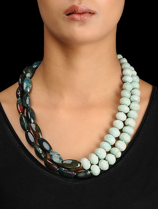 Blood Stone and Amazonite Beaded Silver Necklace