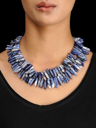 Sodalite Beaded Silver Necklace