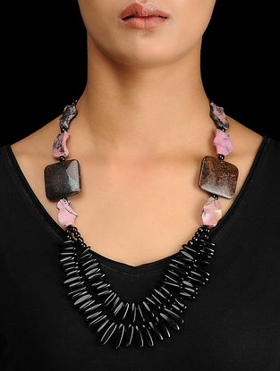 Black Onyx and Rhodonite Beaded Silver Necklace