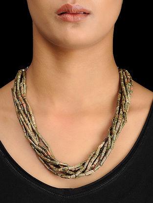 Unakite Beaded Silver Necklace