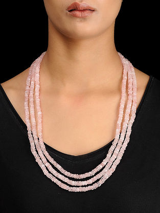 Rose Quartz Beaded Silver Necklace