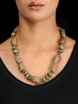 Unakite and Idocrase Beaded Silver Necklace