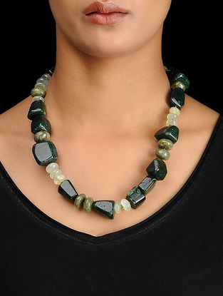 Aventurine and Prehnite Beaded Silver Necklace
