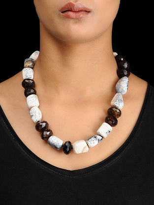 Dendrite and Smoky Quartz Beaded Silver Necklace