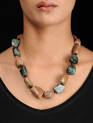 Unakite and Emerald Beaded Silver Necklace