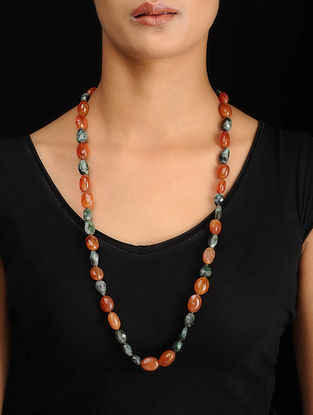 Carnelian and Emerald Beaded Silver Necklace
