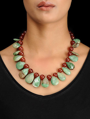 Amazonite and Red Onyx Beaded Silver Necklace