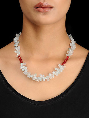 Blue Chalcedony and Red Onyx Beaded Silver Necklace