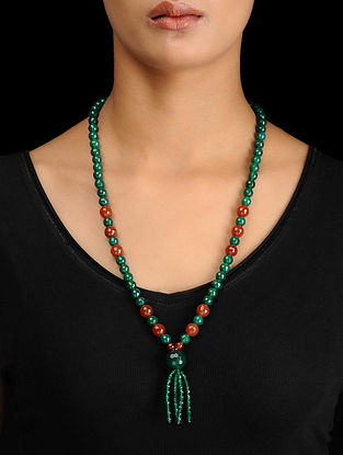 Green-Red Onyx Beaded Silver Necklace