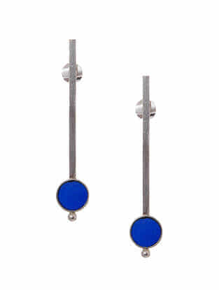 Blue Enameled Silver Earrings