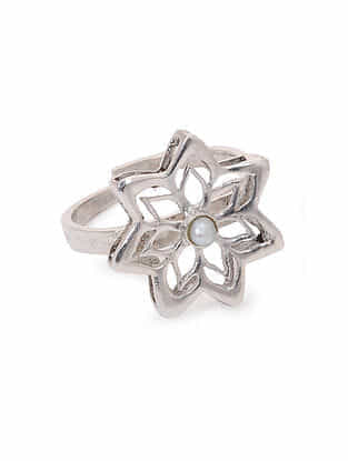 Classic Silver Adjustable Ring with Pearl