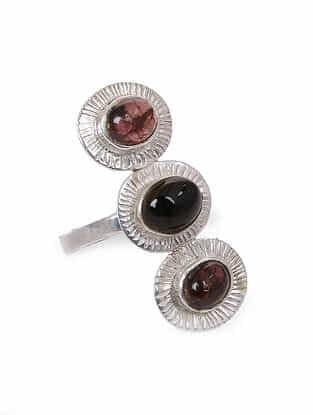 Tourmaline Silver Adjustable Ring