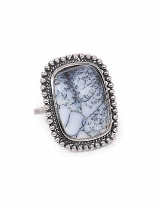 Dendrite Silver Adjustable Ring