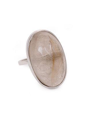 Golden Rutilated Quartz Silver Adjustable Ring
