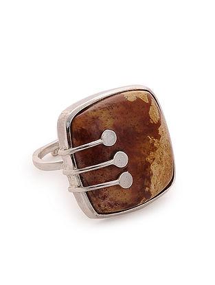 Coral Silver Adjustable Ring