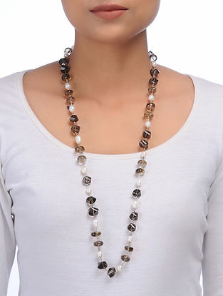 Smoky Quartz and Pearl Beaded Silver Necklace