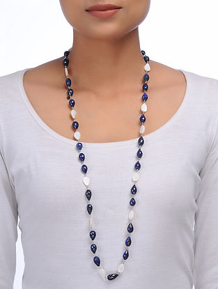 Lapis Lazuli and Mother of Pearl Silver Necklace